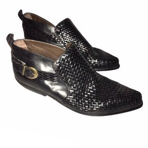 Enzo Angiolini Black Ankle Woven Boots Leather 10